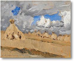 Картина Стога сена в русском пейзаже