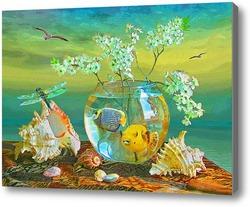Картина Натюрморт с аквариумом.