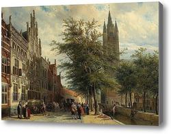 Картина Старая церковь, Делфт, летом