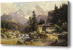 Купить картину Альпийский пейзаж с мельницей
