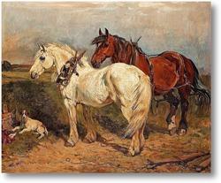 Картина Две рабочие лошадки и отдыхающая собака