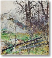 Картина Лесная поляна с забором