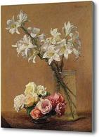 Картина Натюрморт с лилиями и розами