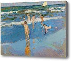 Картина Дети в море, Валенсия пляж