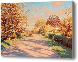 Купить картину Осенний пейзаж с лошадью и телегой