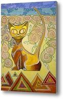 Картина Египетская кошка в розах