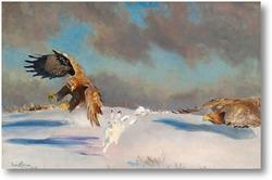 Купить картину Зимняя охота орлов на зайца