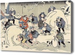 Картина Катание снежков