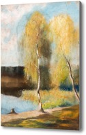 Купить картину Осень, березы на берегу реки, 1897