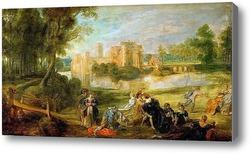 Картина Пейзаж с замком и парком Стен