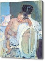 Картина Сидящая женщина с ребенком и его рукой, Кассат Мэри