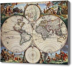Картина Карта мира.Ретро