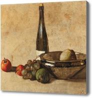 Картина Натюрморт с бутылкой вина и фруктами