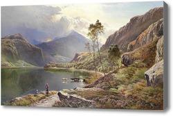 Картина Город около озера в Северной Уельсе
