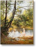 Картина Летний пейзаж с детьми