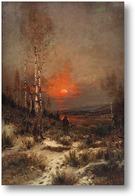 Купить картину Зимний вечер.Пейзаж с охотником