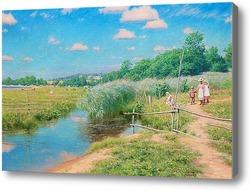 Картина Летний пейзаж с детьми.