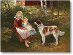 Картина Ребенок и собака