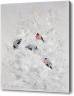 Картина Птицы на зимней ветке