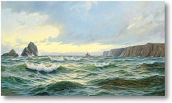 Купить картину Скалистые берега моря в раннем утреннем свете