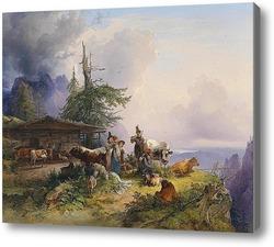 Купить картину Молочная ферма в горе  в 1835