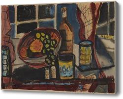 Картина Натюрморт с фруктами и бутылкой