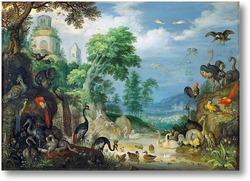 Картина Пейзаж с птицами