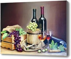 Картина Натюрморт вино и виноград