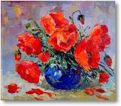 Купить картину Маки в синей вазе