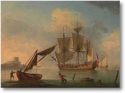 Картина Английский шлюп, Becalmed недалеко от берега