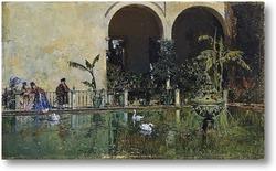 Картина Пруд в сады Реал Алькасар в Севилье