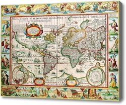 Картина Старая карта мира