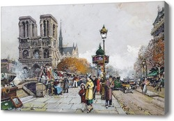 Картина Нотр-Дам и набережная Сен-Мишель