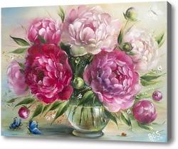 Картина Бордовые и розовые пионы