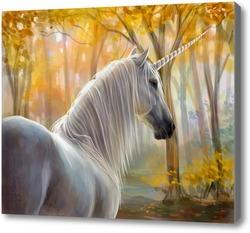 Картина Единорог в осеннем лесу