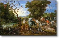 Картина Ной собирает животных для ковчега (1613)