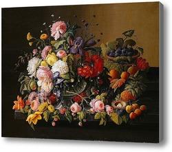 Картина Натюрморт, Цветы и Фрукты