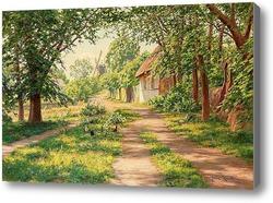 Купить картину Летний пейзаж с ветряной мельницей