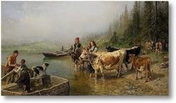 Картина Паромное место на озере