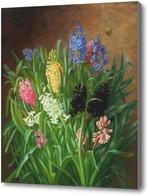 Картина Натюрморт с Гиацинтами и бабочкой