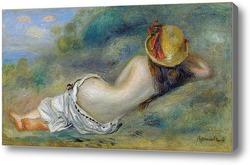 Картина Купальщица в шляпе, на траве