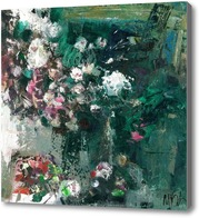 Картина абстрактный натюрморт с цветами