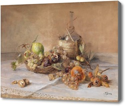 Картина Натюрморт с фруктами и бутылкой кьянти.Эгнер Мари