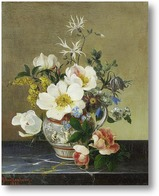Картина Натюрморт с цветами на мраморном выступе