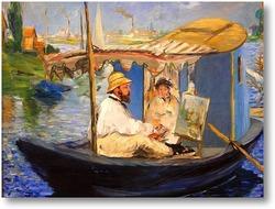 Картина Моне рисует в лодке