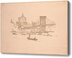 Картина Нью Йорк, бруклинский мост