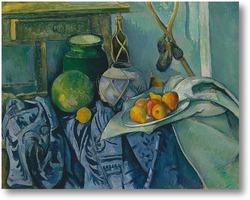 Картина Натюрморт с кувшином,банкой,имбирем и баклажанами
