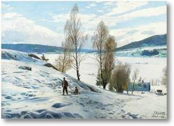 Картина Зима в Однес, Норвегия