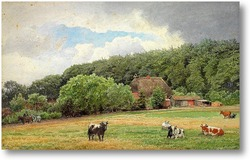 Картина Ферма с пасущимися коровами
