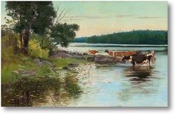Картина Вид около озера